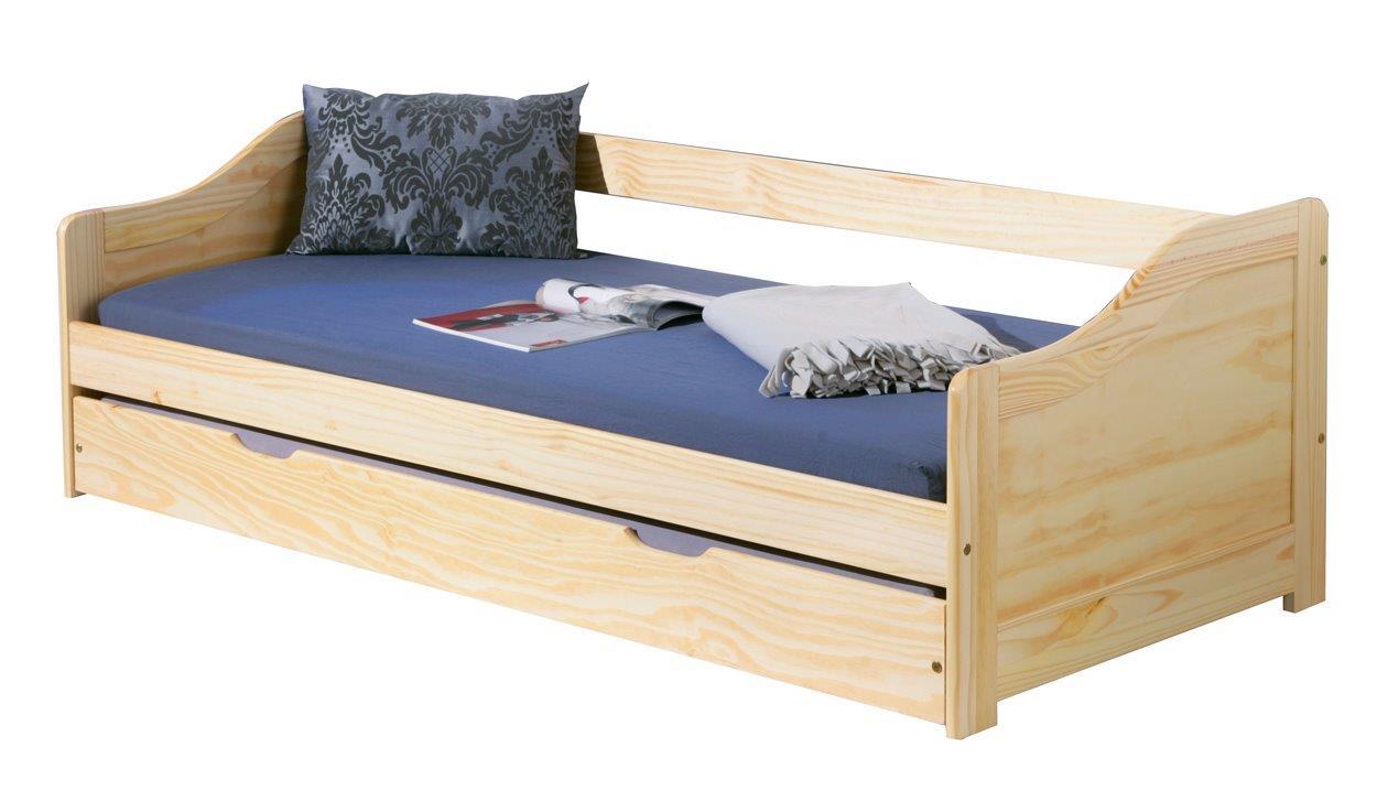 kinderbett sofabett laura mit schublade 90 x 200 kiefer massiv. Black Bedroom Furniture Sets. Home Design Ideas
