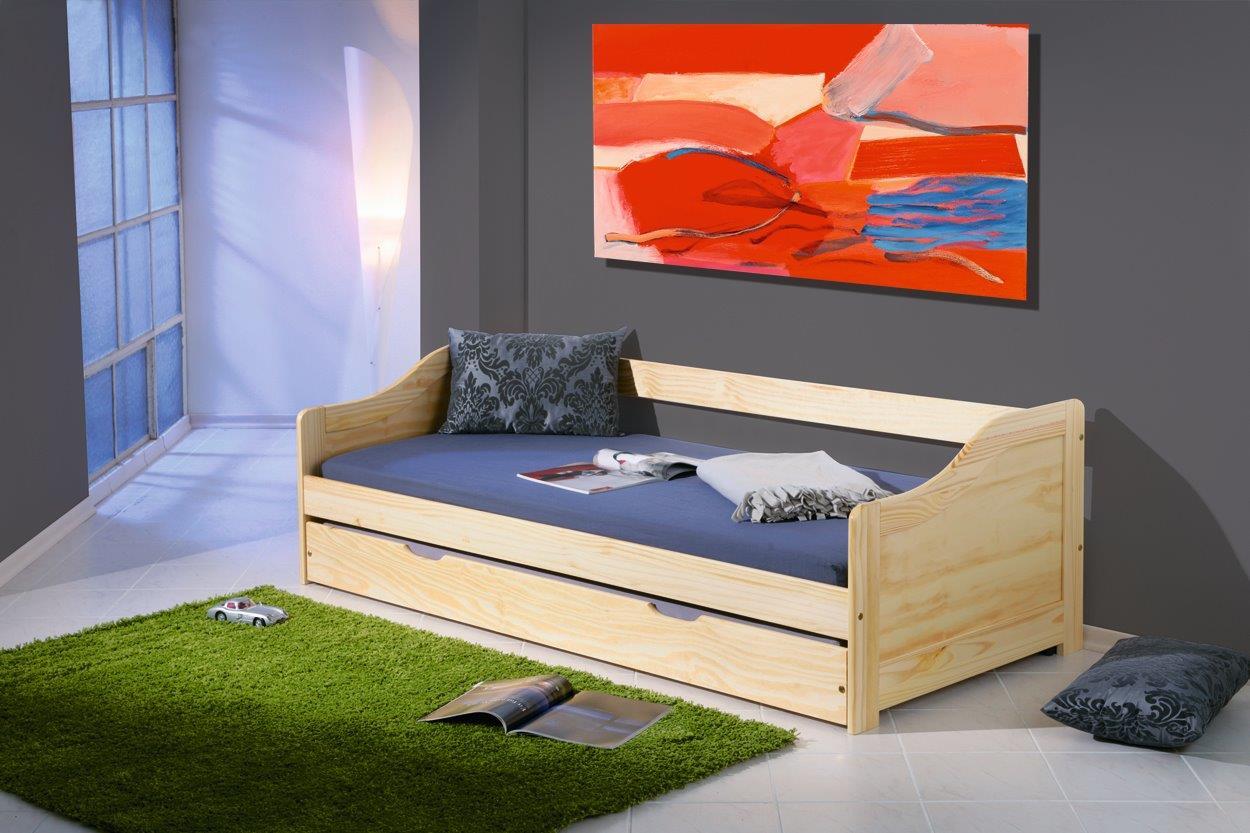 Kinderbett Sofabett Laura Mit Schublade 90 X 200 Kiefer Massiv