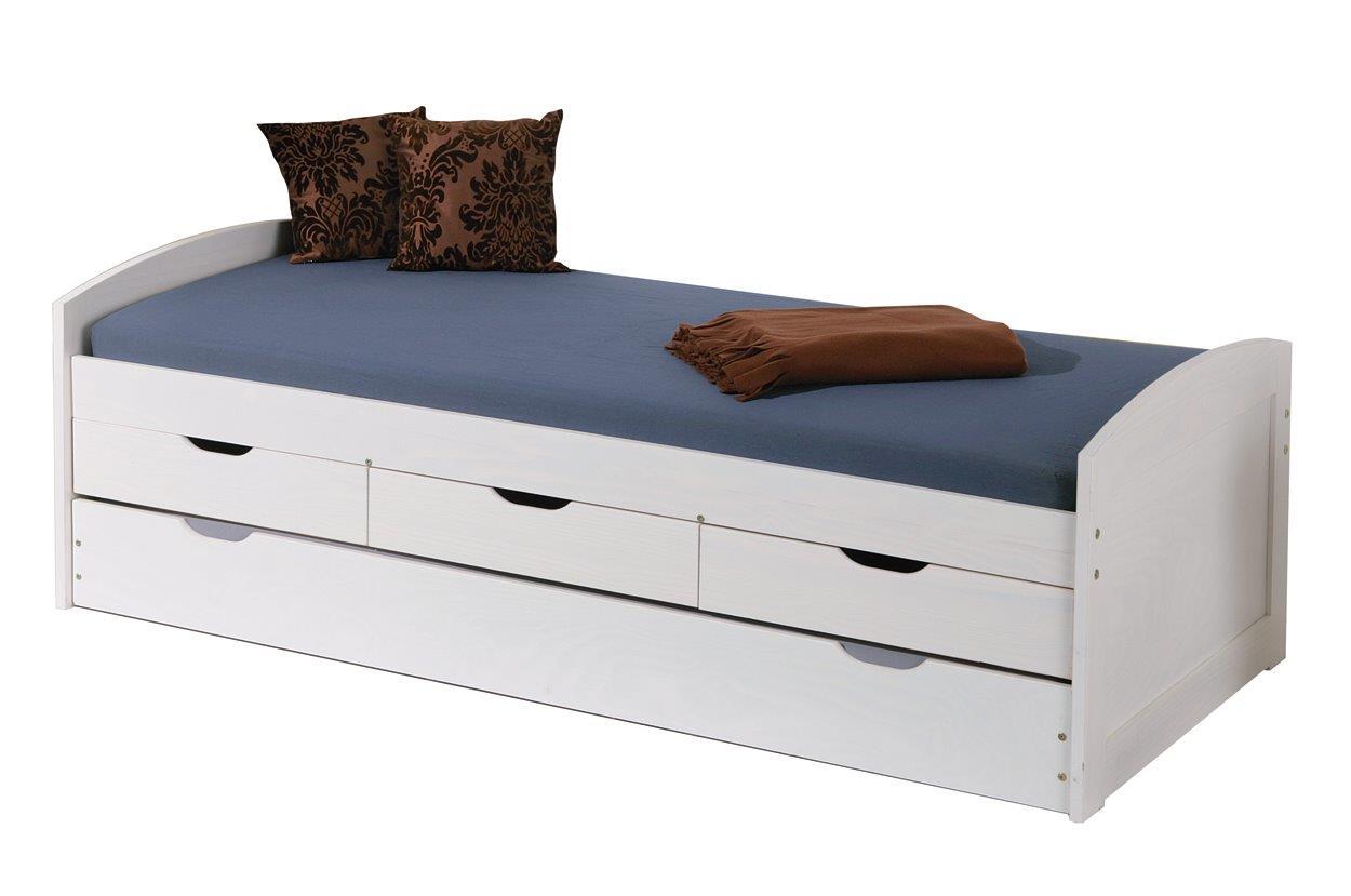 Kinderbett Ulli 90 x 200 cm Kiefer Massivholz weiß lackiert