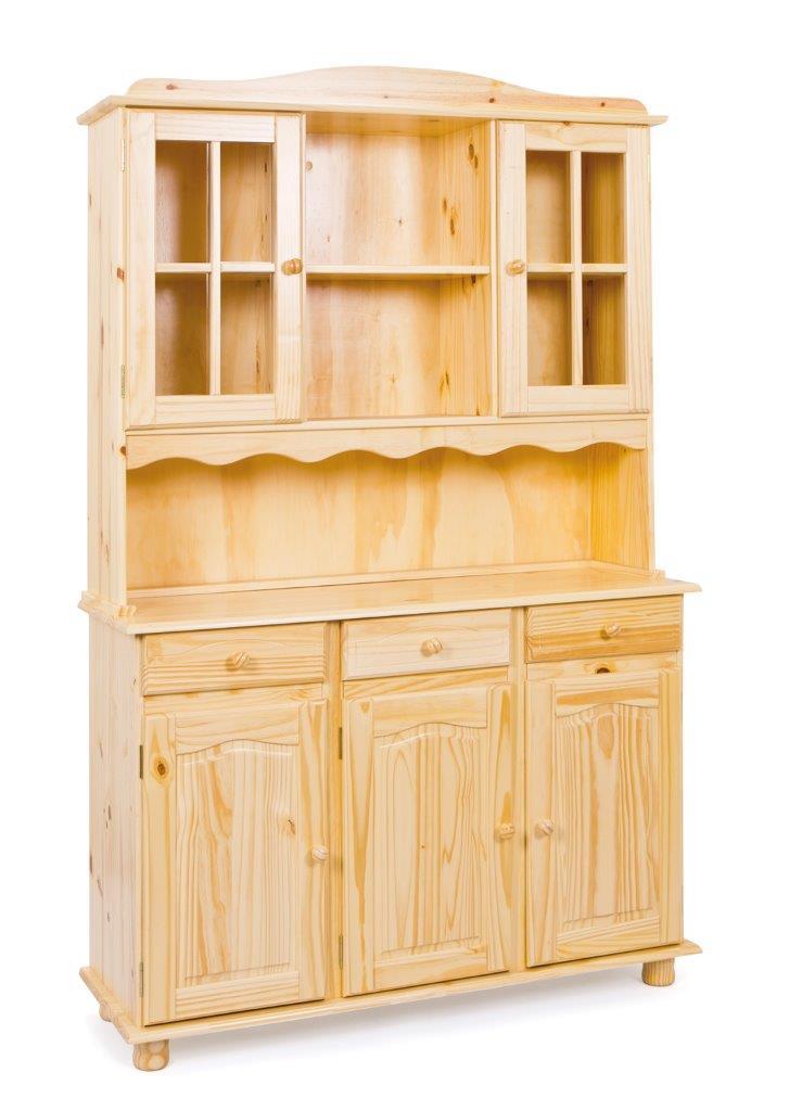 buffet vitrine toscana kiefer massivholz k chenbuffet natur lackiert. Black Bedroom Furniture Sets. Home Design Ideas