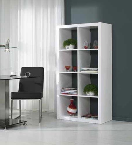 Regal Bücherregal High Gloss weiß 8
