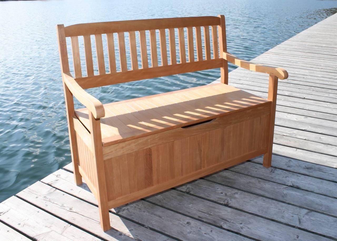 gartenbank truhenbank aus eukalyptus 2 sitzig 107 cm breit. Black Bedroom Furniture Sets. Home Design Ideas