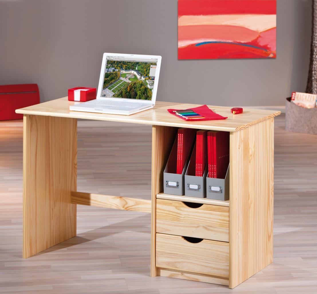 Schreibtisch sinus kiefer massivholz natur lackiert for Kiefer schreibtisch