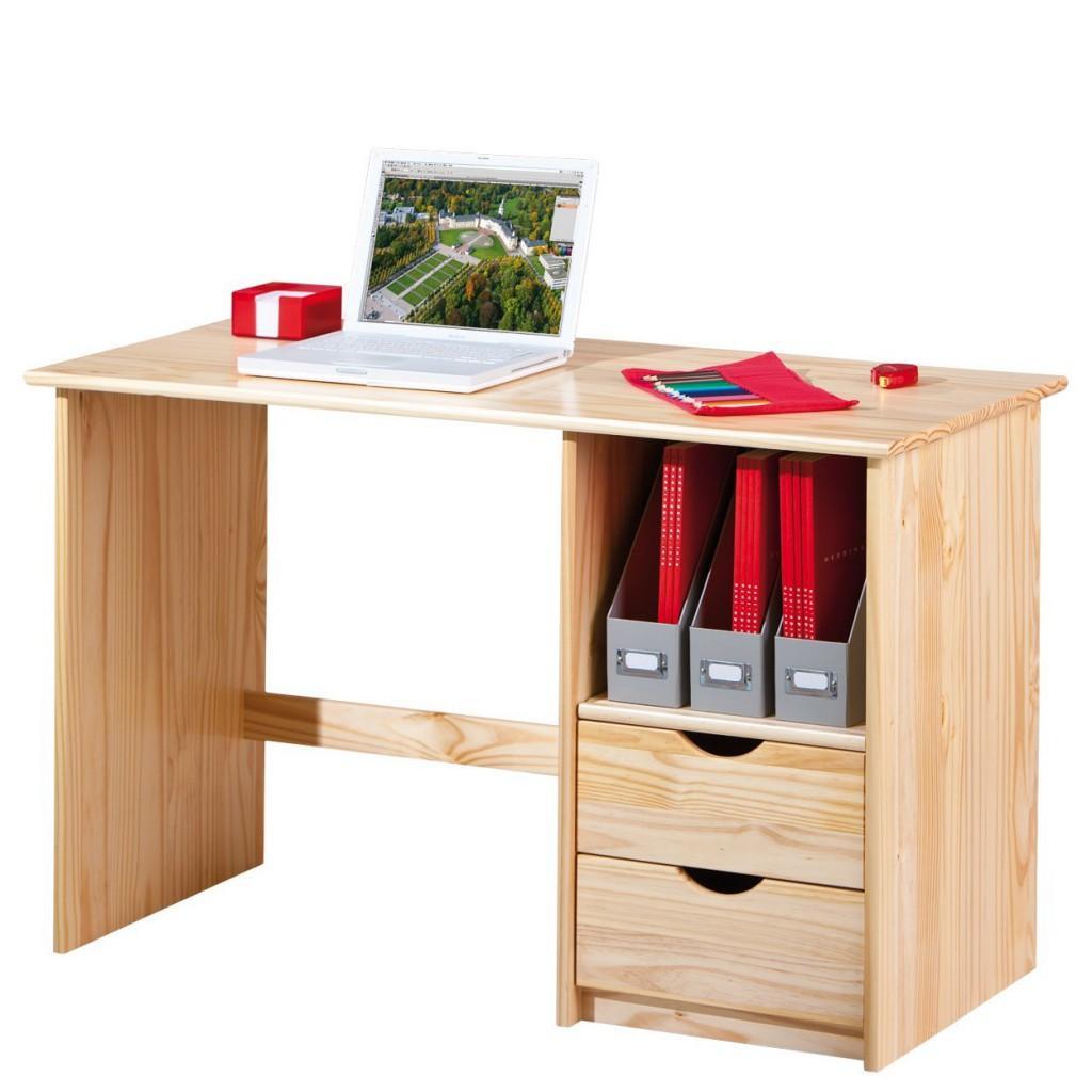 Schreibtisch SINUS Kiefer Massivholz Natur lackiert