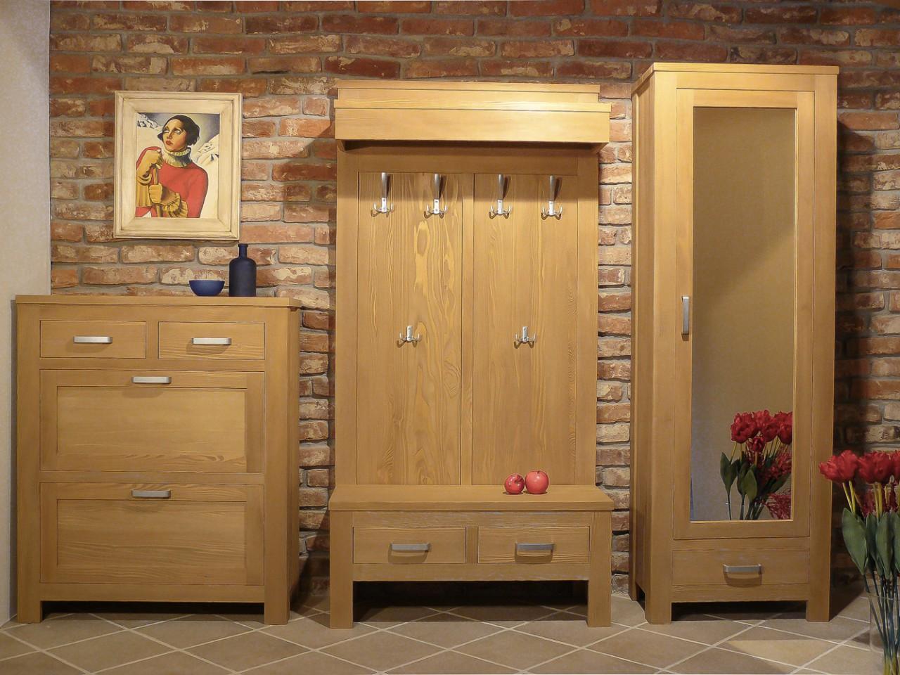 dielenschrank bavaria mit spiegel fichte massivholz geb rstet. Black Bedroom Furniture Sets. Home Design Ideas