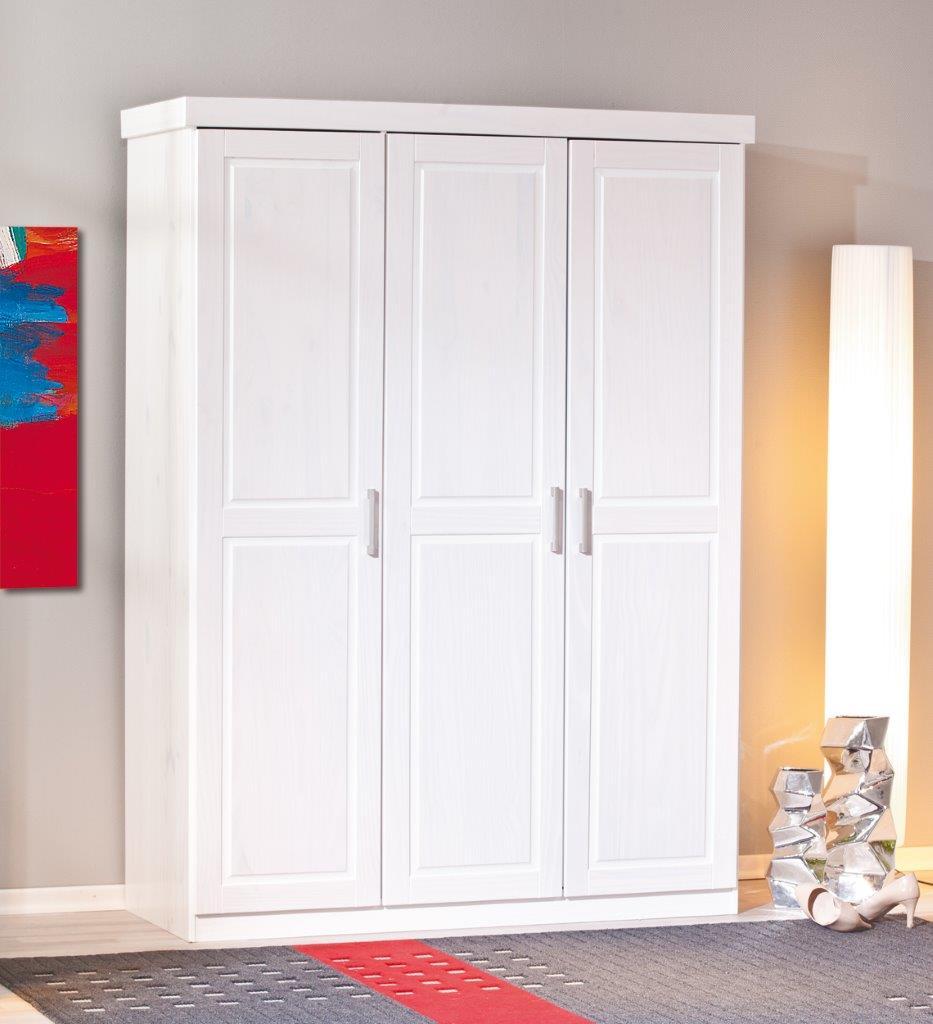 Kleiderschrank Magnus 3 Türen Kiefer massiv weiß lackiert