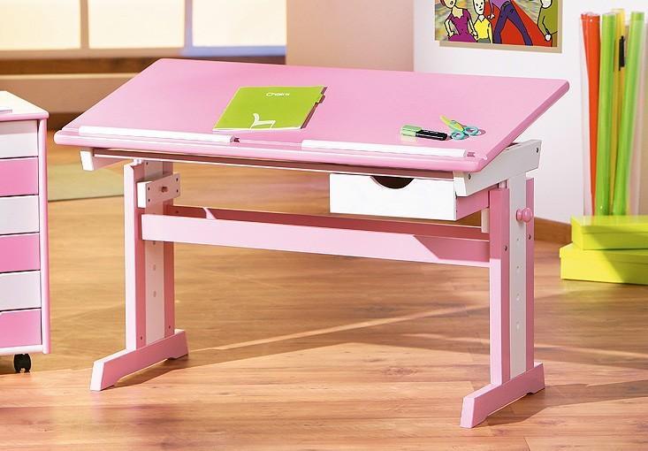 Abc Kinderschreibtisch Fur Madchen Pink Verstellbar