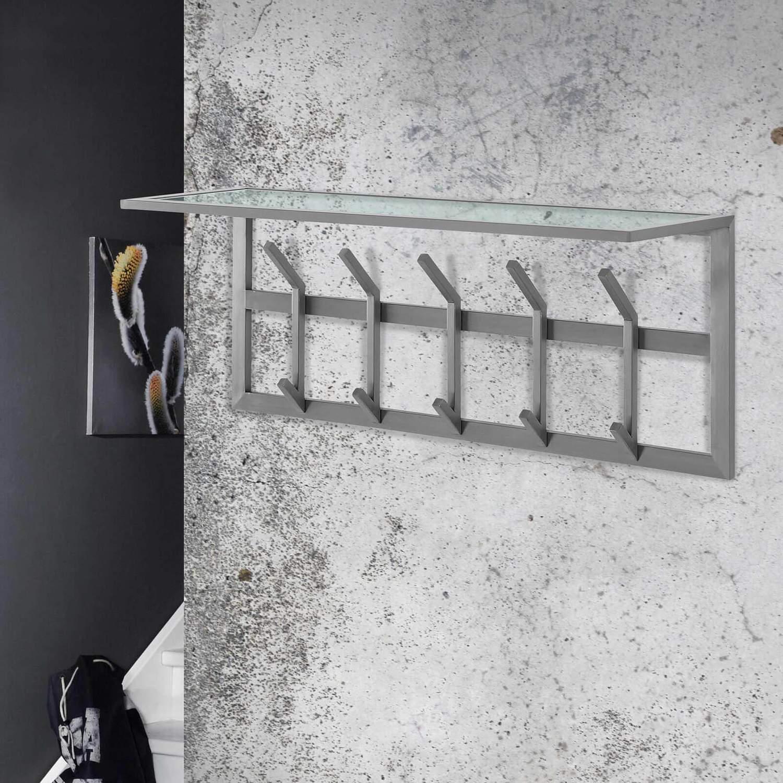 garderobe wandgarderobe immo 5 edelstahl mit ablage aus glas ebay