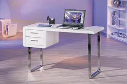 Schreibtisch Computertisch CLAUDE weiß 2 Schubladen