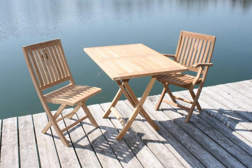 gartentisch klapptisch paris in premium teak 100 x 70cm ebay. Black Bedroom Furniture Sets. Home Design Ideas