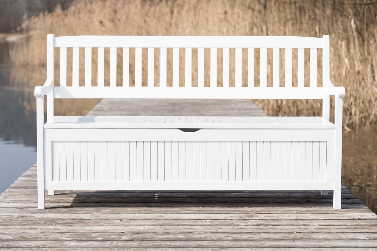 gartenbank mit truhe truhenbank eukalyptus wei 3 sitzig. Black Bedroom Furniture Sets. Home Design Ideas
