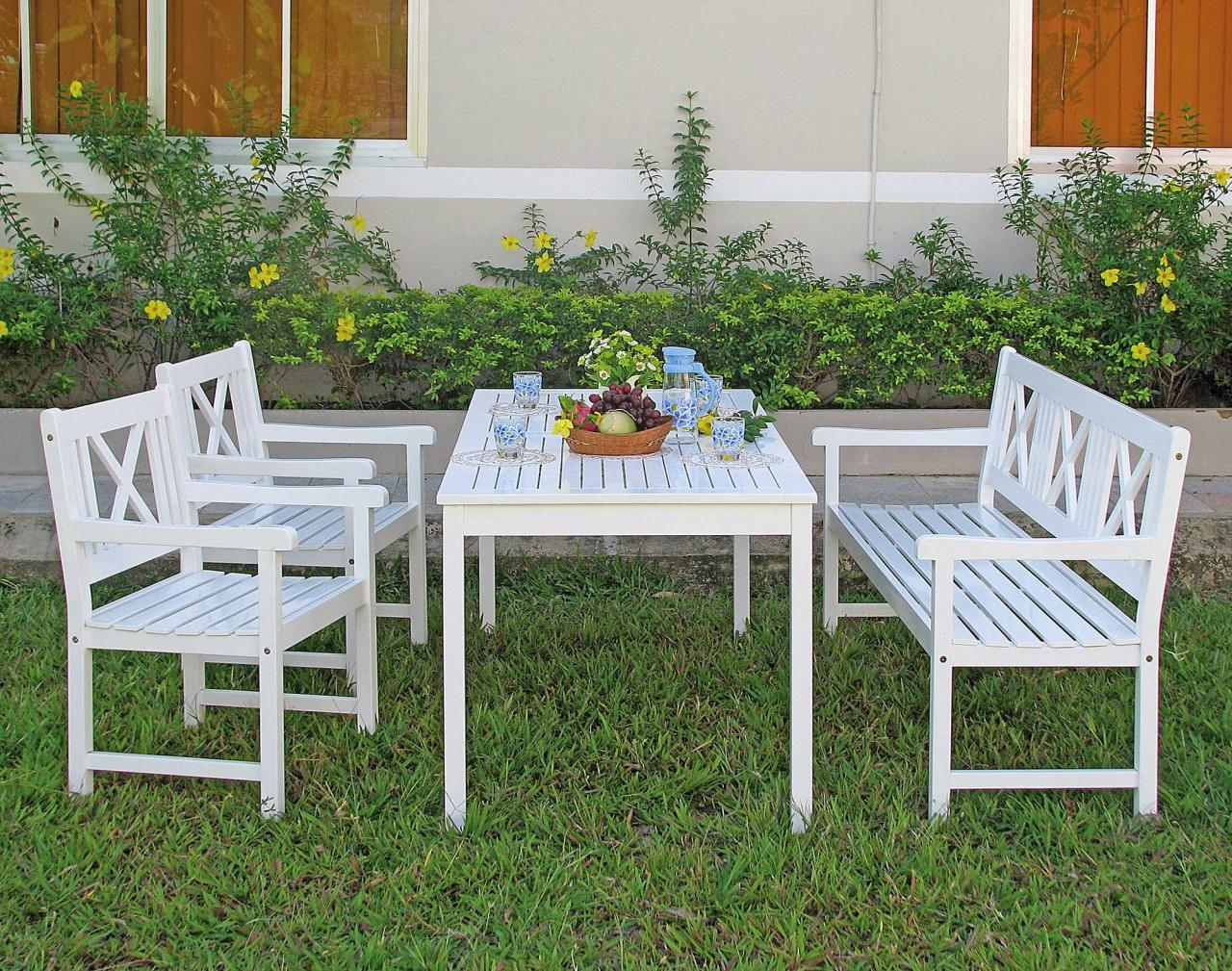 Tisch Gartentisch Malmö 165 x 80 cm Akazie weiß