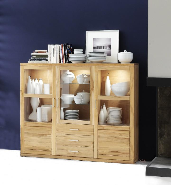 Highboard Bianca 034S Kernbuche oder Wildeiche Massivholz