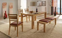 Tischgruppe Signal 140x90 mit Holzstuhl 733 Kernbuche oder Wildeiche