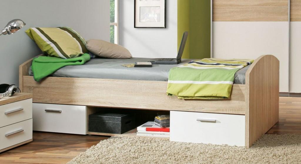 Jugendbett Winnie 90 x 200 cm mit 2 Schubladen - Sonoma Eiche / Weiß