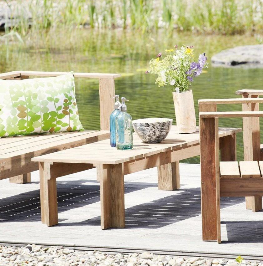 Gartentisch Teak Tisch BATTEN Jan Kurtz Beistelltisch zu Loungegruppe