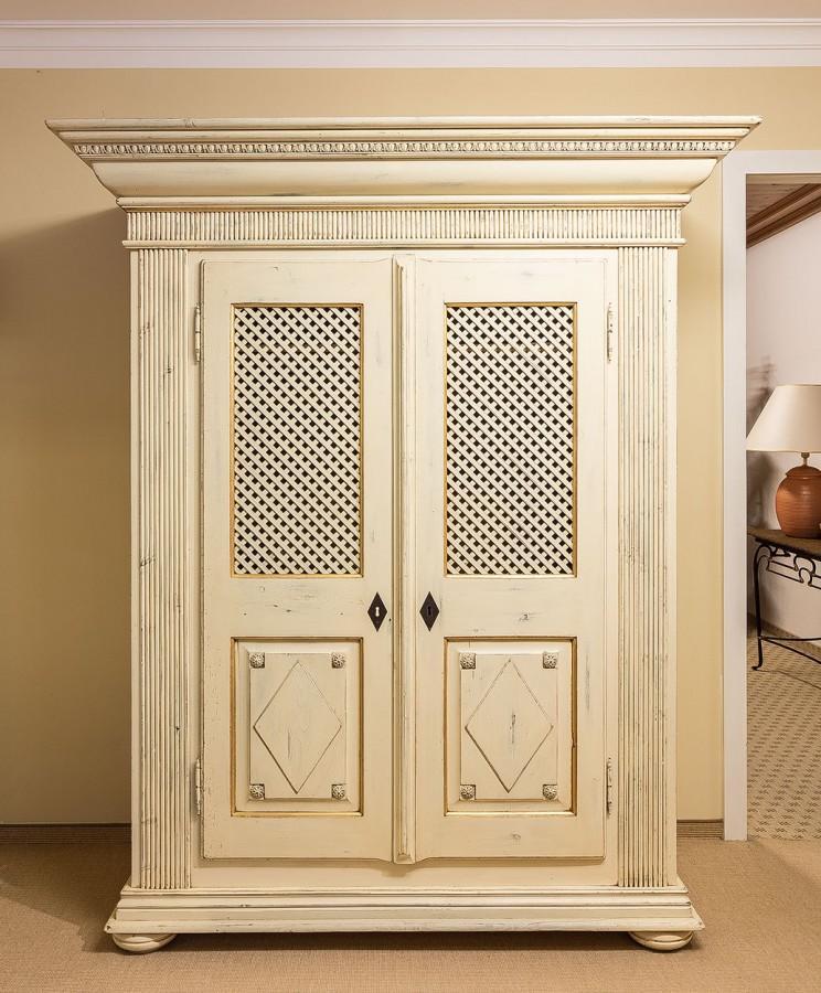 Schrank Dielenschrank LOIRE, 2 Türen handbemalte Oberfläche