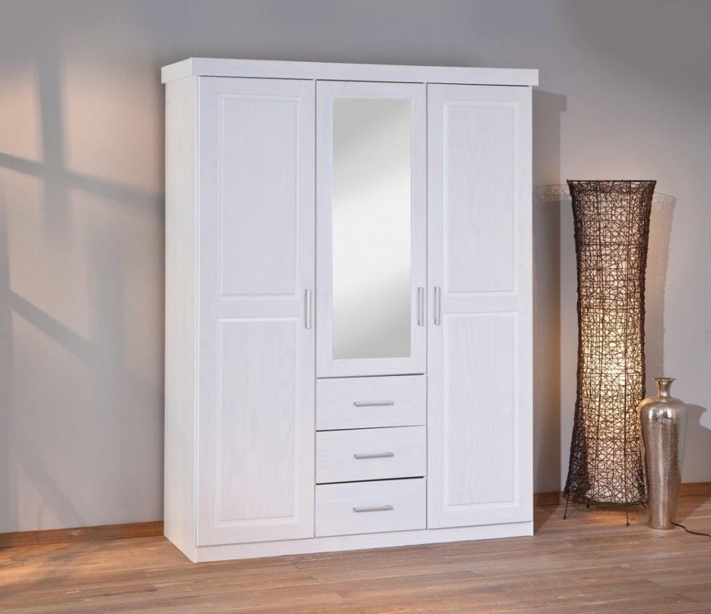 Kleiderschrank GERALDO Kiefer weiß lackiert 3-türig