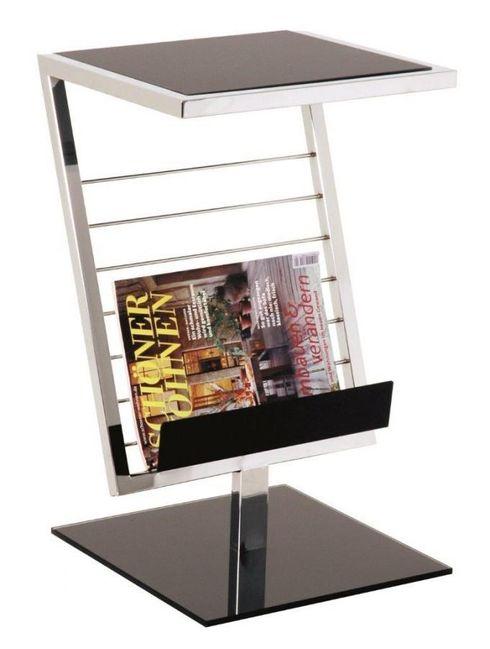 beistelltisch mit zeitungsst nder in chrom mit schwarzglas. Black Bedroom Furniture Sets. Home Design Ideas