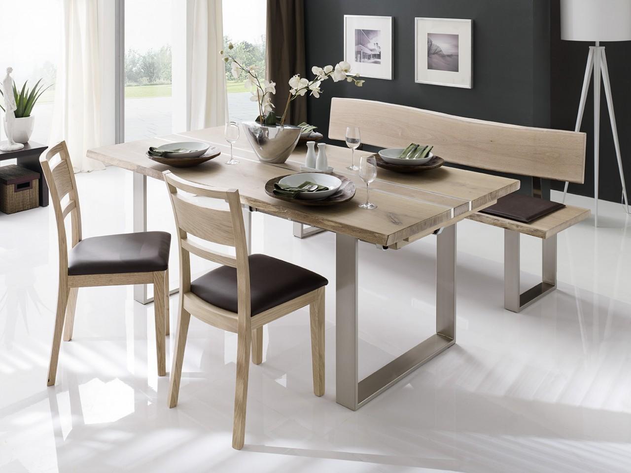 baumbank anja mit r ckenlehne wildeiche mit sch ner naturkante. Black Bedroom Furniture Sets. Home Design Ideas