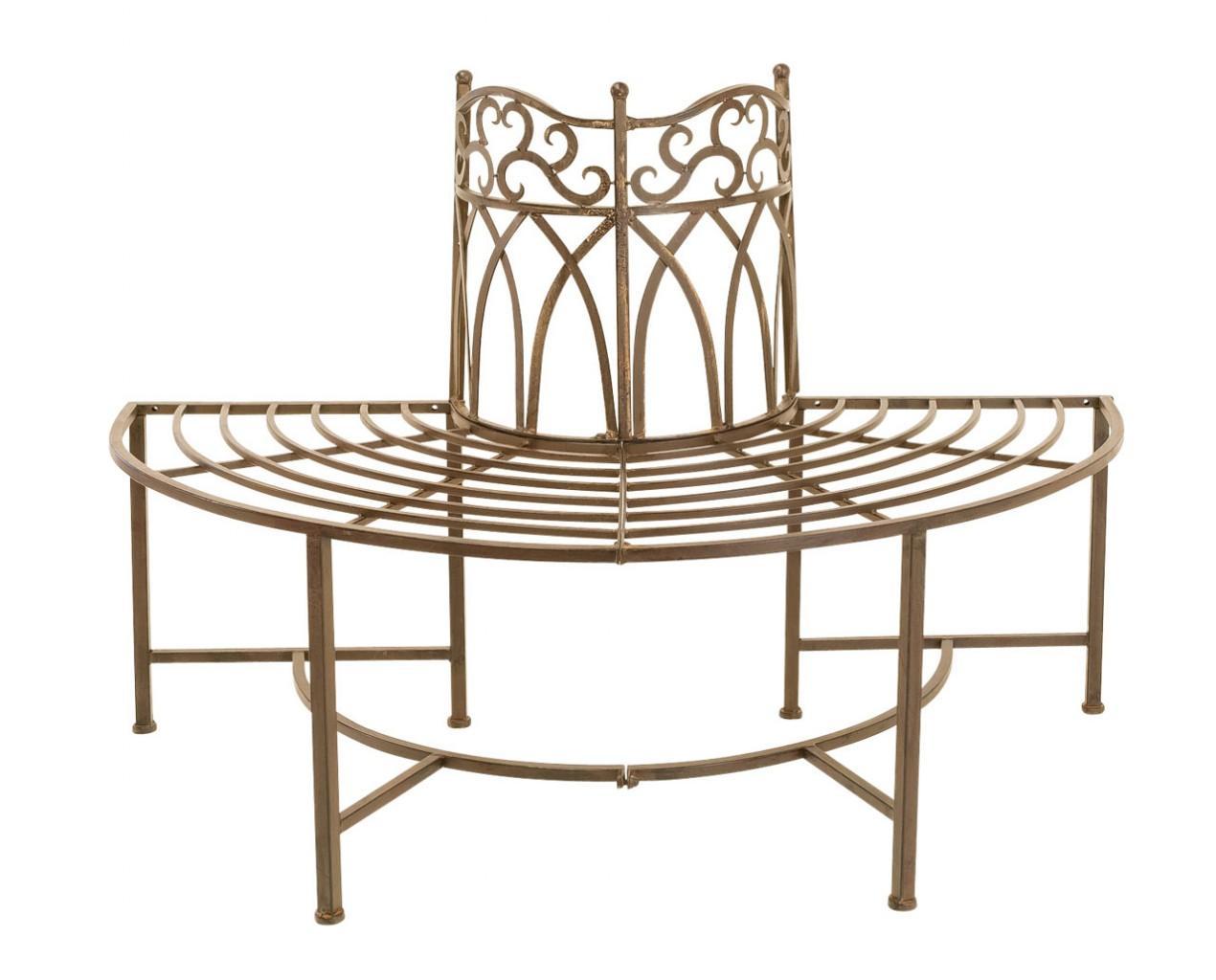 Baumbank Metallbank halbrund dunkelbraun antik lackiert
