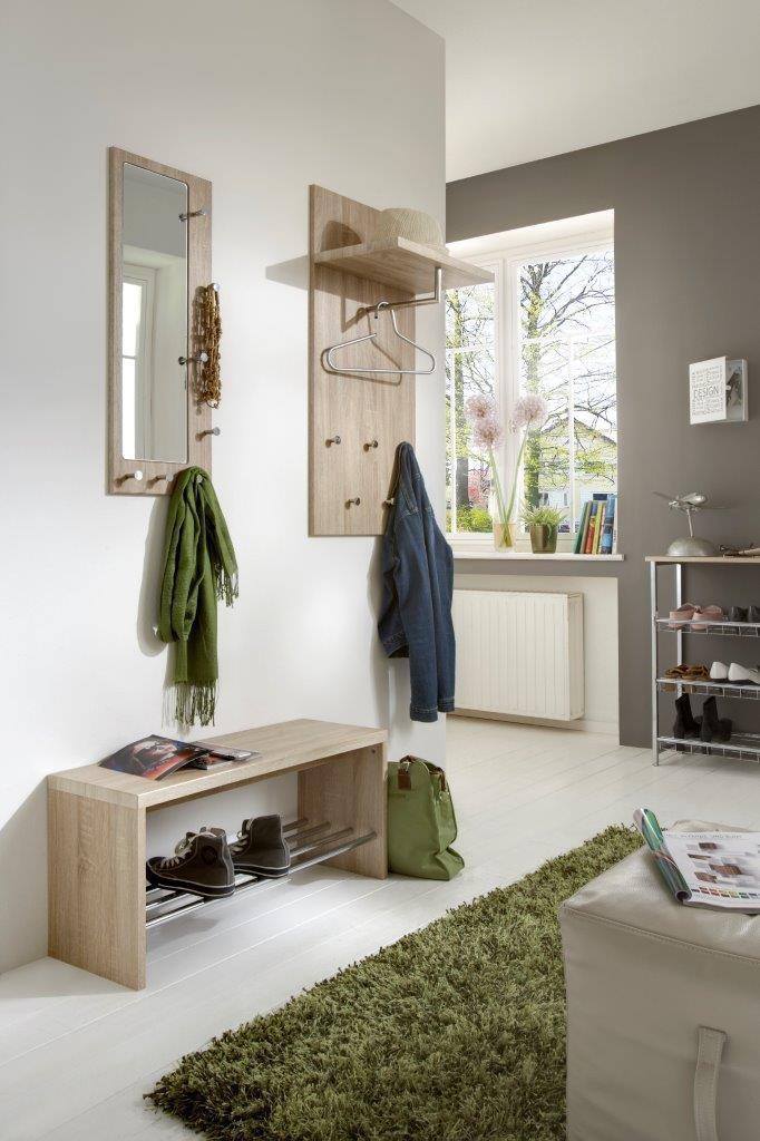 wandgarderobe paolo eiche hell mit spiegel. Black Bedroom Furniture Sets. Home Design Ideas