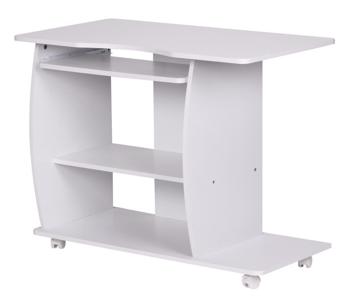 Schreibtisch computertisch wei mit rollen 90 cm for Schreibtisch mit rollen