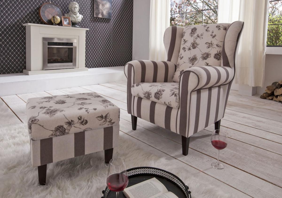 polstersessel ohrensessel aversa mit sch nem landhaus stoff. Black Bedroom Furniture Sets. Home Design Ideas
