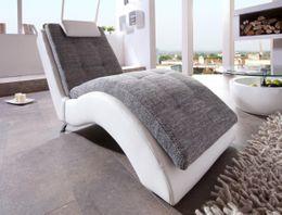 Liege Relaxliege Varese Weiß/Grau inkl. Kopfkissen von Benformato