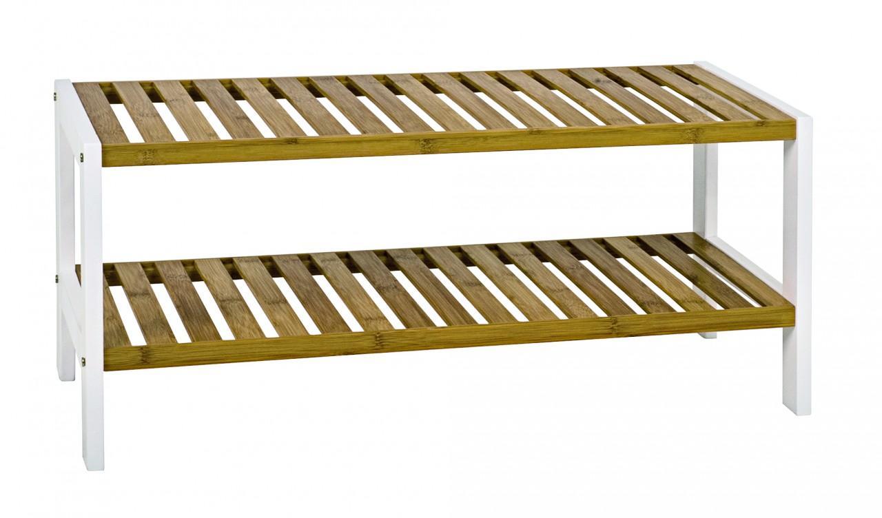 Regal Schuhregal Lena 2 Gestell weiß Ablagen Bambus natur lackiert