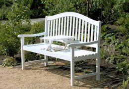 Gartenbank mit hochklappbarem Tisch aus 100% Eukalyptus weiß
