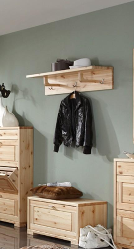 wandgarderobe guldborg garderobe mit hutablage 3 haken kiefer massiv. Black Bedroom Furniture Sets. Home Design Ideas