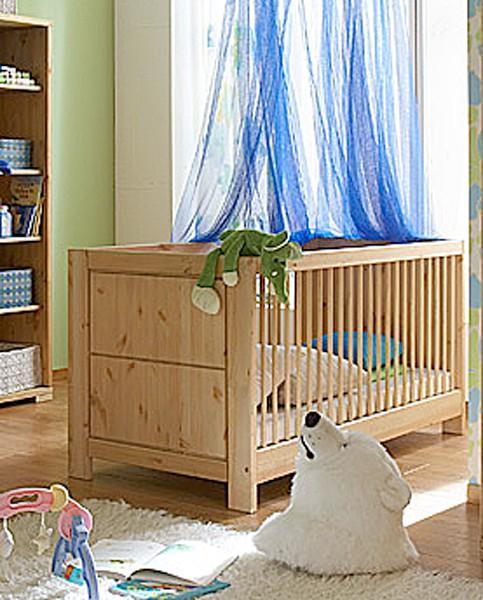Babybett Guldborg 140 x 70 cm Kinderbett mit Sprossen Kiefer massiv