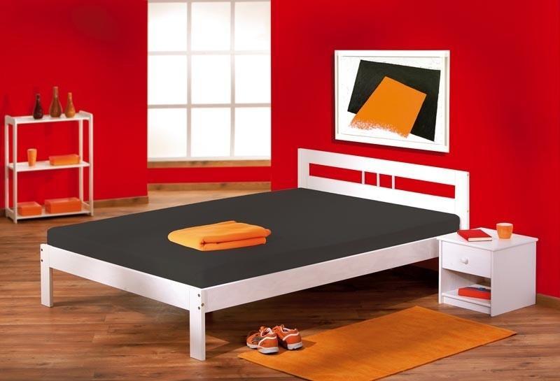 Bett FANA Futonbett 140 x 200, Kiefer massiv, Weiß lackiert