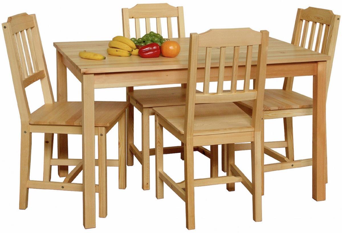Essgruppe CLASSIC 5-tlg. Esstisch 4 Stühle, Kiefer massiv lackiert