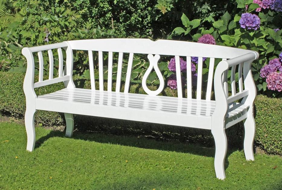 Gartenbank ARCADIA 3-Sitzig aus 100% Eukalyptus weiß
