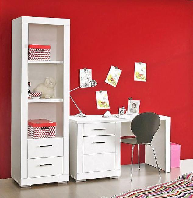 Regal Snow Bücherregal 2 Schubladen Breite 61 Cm Weiß Matt Forte