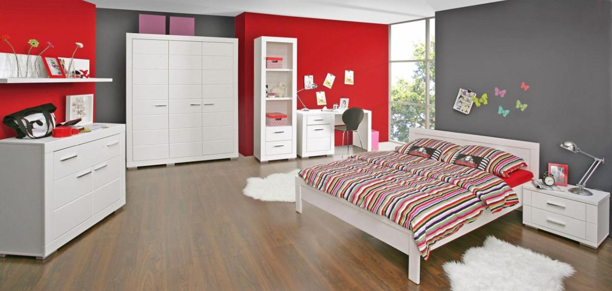 jugendzimmer snow komplett set 7 tlg bett 140 cm wei. Black Bedroom Furniture Sets. Home Design Ideas