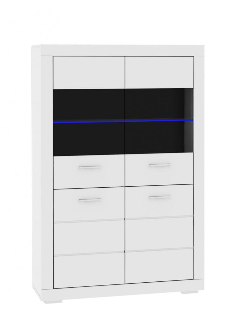 Vitrine SNOW Schrank mit Glastüren, inkl. LED-Beleuchtung, Weiß matt