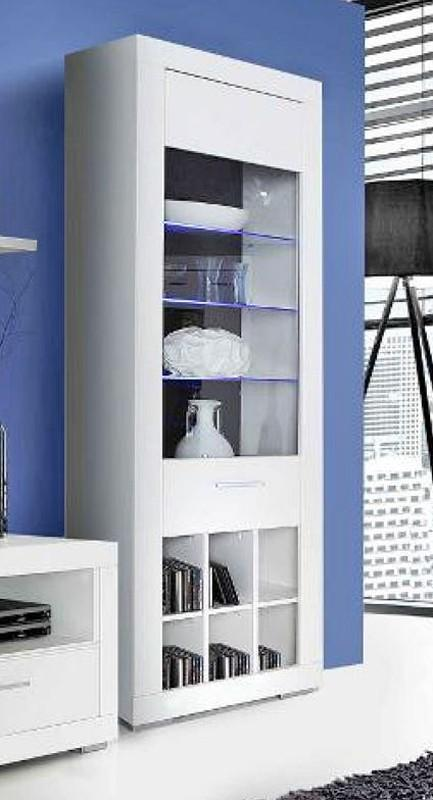 vitrine snow schrank 1 glast r inkl led beleuchtung wei matt. Black Bedroom Furniture Sets. Home Design Ideas