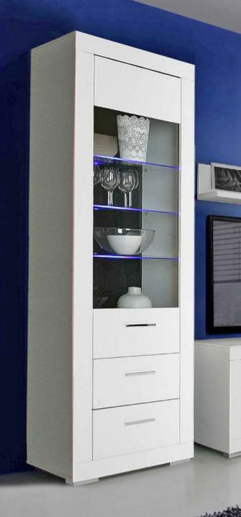 vitrine snow schrank 1 glast r 2 schubladen wei matt led beleuchtung. Black Bedroom Furniture Sets. Home Design Ideas