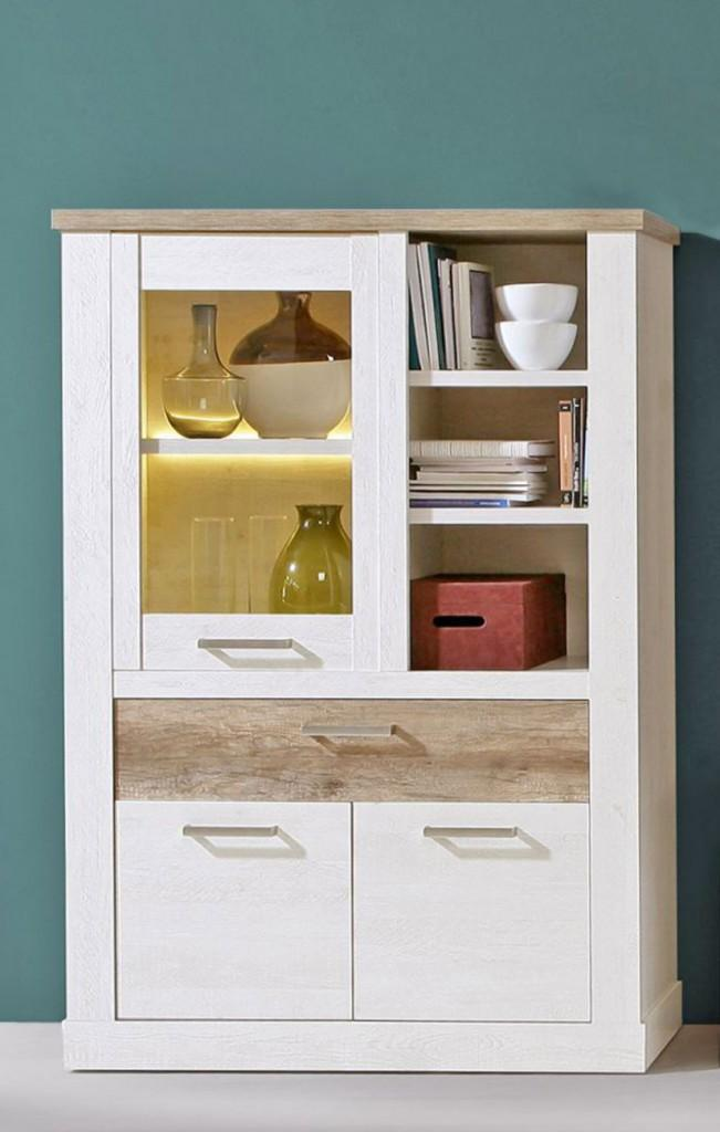 Highboard Vitrine Duro Schrank 1 2 Turen Optik Pinie Weiss Antik