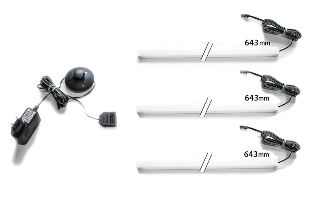 LED Beleuchtungsleiste Farbton weiß 645 mm 3er-Leiste