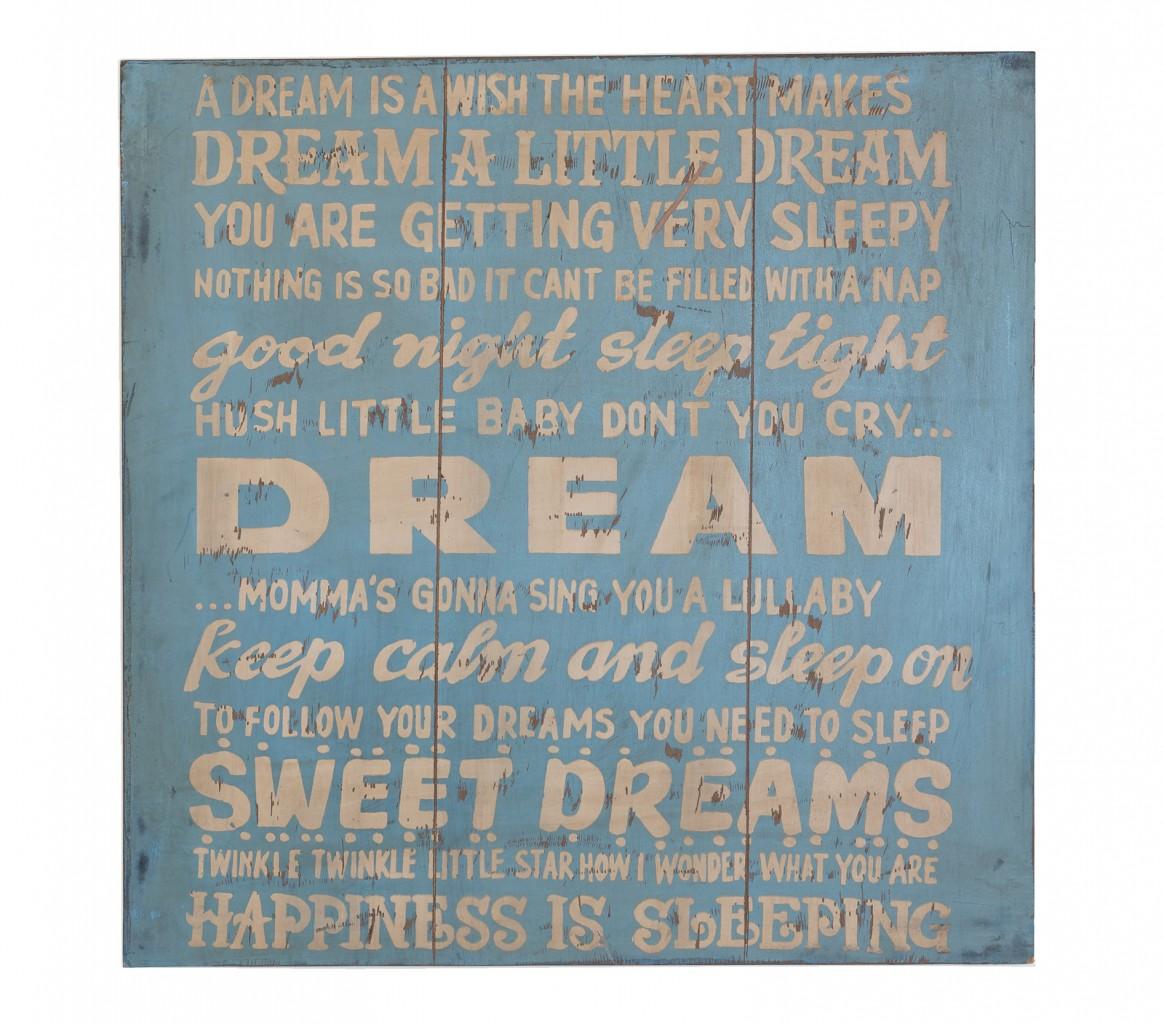 "Wall Art Deko Holzschild - ""A dream"" im Vintage Look"