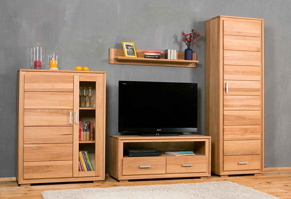wohnwand genf set i kernbuche massivholz ge lt gewachst 4. Black Bedroom Furniture Sets. Home Design Ideas