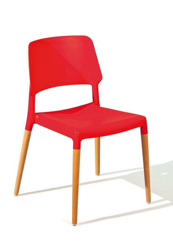 Stuhl stapelstuhl tilde 4er set kunststoffsitz rot f e buche for Stapelstuhl esszimmer