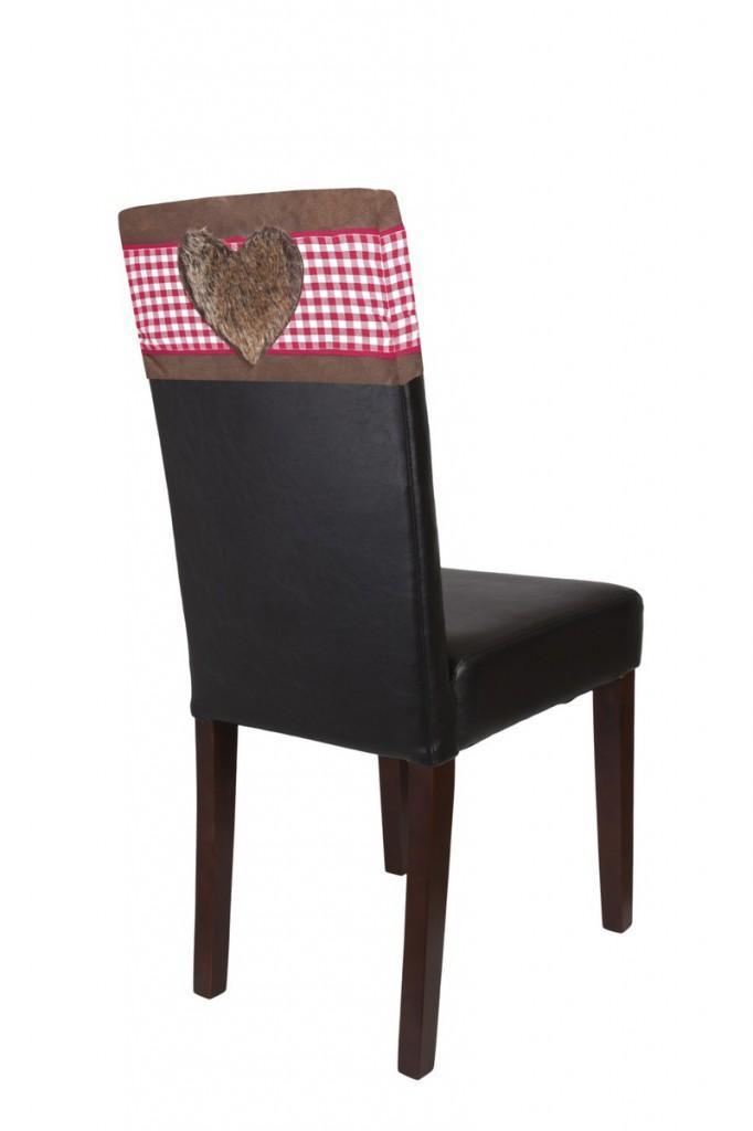 Stuhlhaube / Stuhlhusse Lederlook mit braunem Herz 2 er Set von SIT