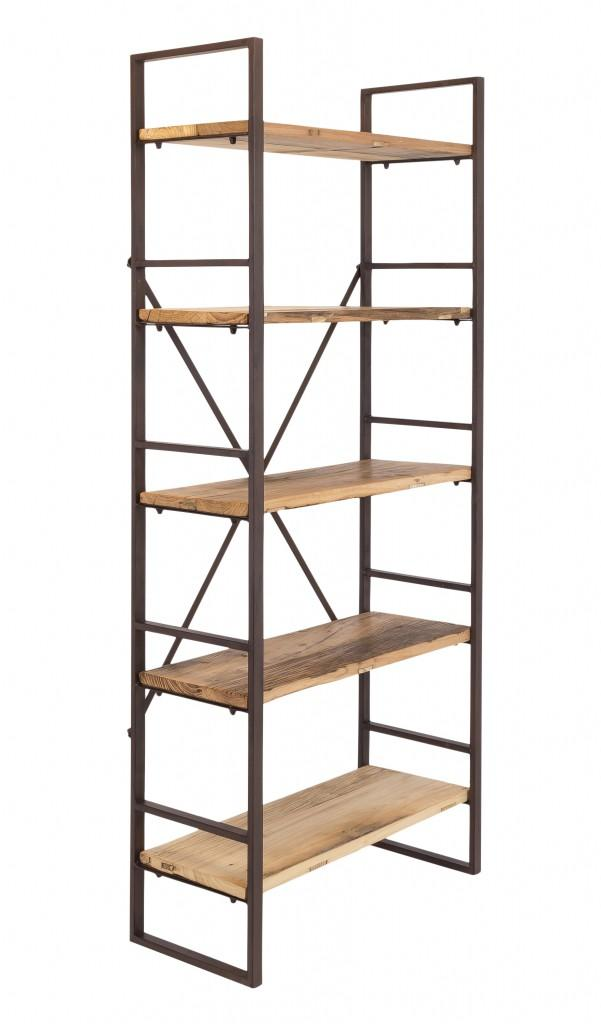 Regal Eisenregal ROSSINO Antik Braun, 5 Fächer aus alten Ulmenholz