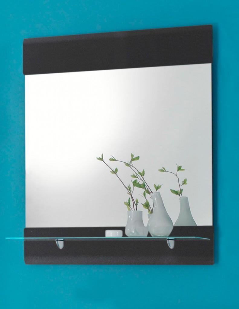 badspiegel chrome spiegel mit glasablage optik grau metallic. Black Bedroom Furniture Sets. Home Design Ideas