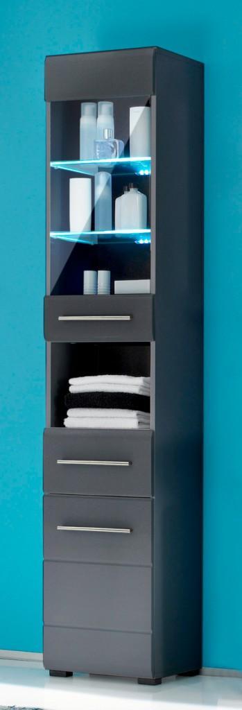Badezimmer-Hochschrank CHROME Seitenschrank mit 2 Türen, grau-metallic
